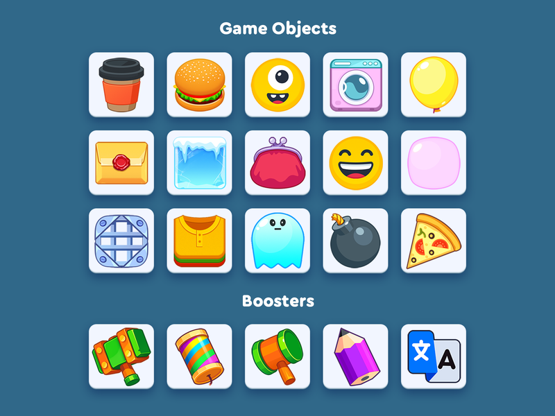WordsApp game objects pizza bomb ice envelope shirt ghost balloon smile burger coffee 2d match 3 casual icon ui mobile design app illustration game