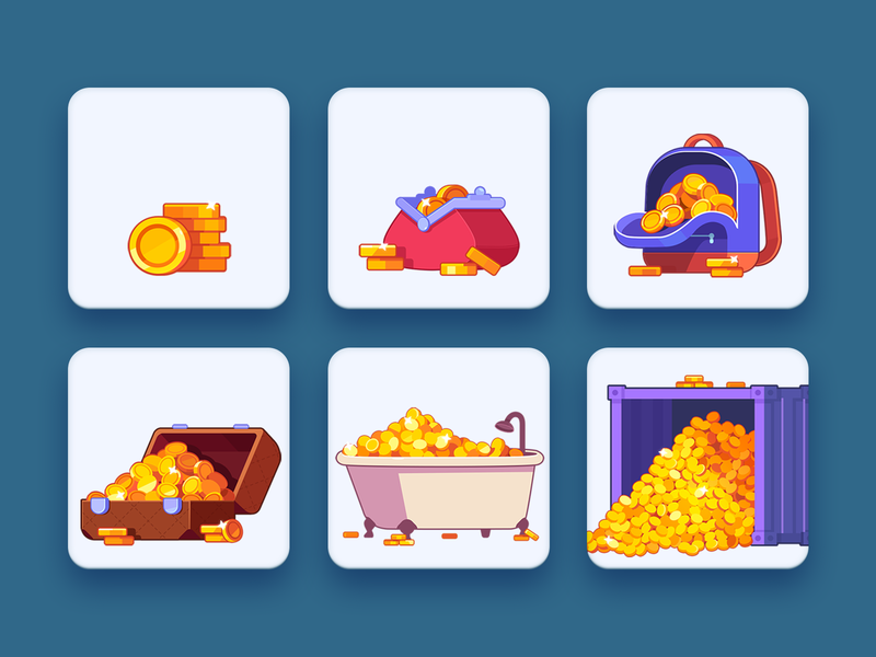 WordsApp Coins props bin suitcase purce bagpack wallet bath store shop gold coins coin 2dart 2d match3 casual icon design illustration game