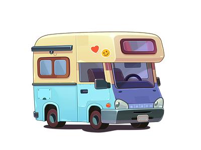 WordsApp Car road cute cartoon art illustraion icon game photoshop 2d art 2d drive traveling trip van winnebago motor home mobile home car