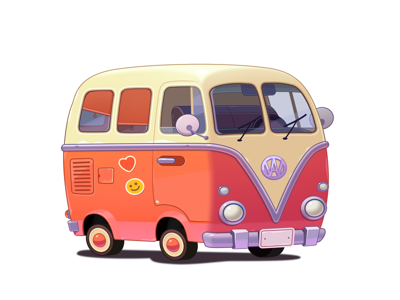 WordsApp Car cartoon surf volkswagen photoshop 2d art 2d road drive travel trip red bus red van car match3 casual mobile icon illustration game