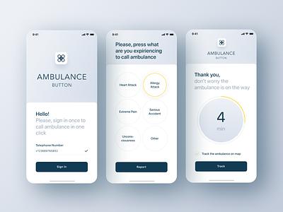 Ambulance Button App app figma ui autorization login sign in gray first aid san francisco minimalist clean light mobile medicine help ambulance