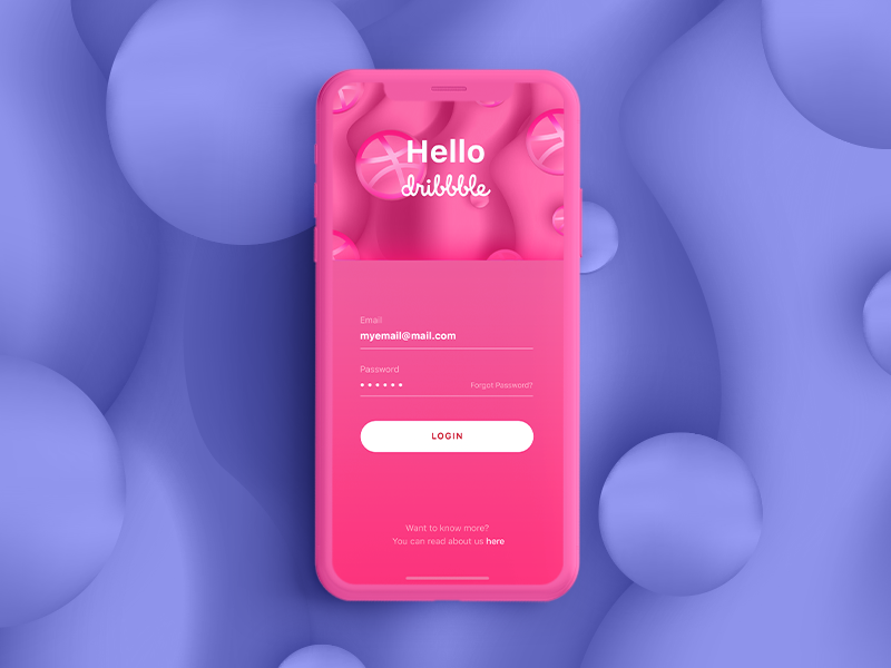 Hello Dribbble! iphone bubble creative ui vector mobile app app authorization login sign in sign up mobile illustration pink hello