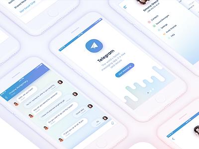Telegram Messenger App for IOS. Redesign menu sidebar message gradient app iphone light candy ui ux start login redesign telegram chat onboarding mobile ios message app messenger