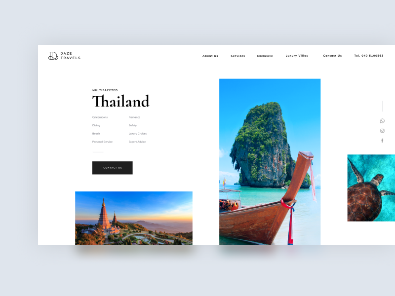 Discover Thailand typography gallery web concept sea ocean asia creative logo light agency photo grid white tour trip travel ui clean minimal