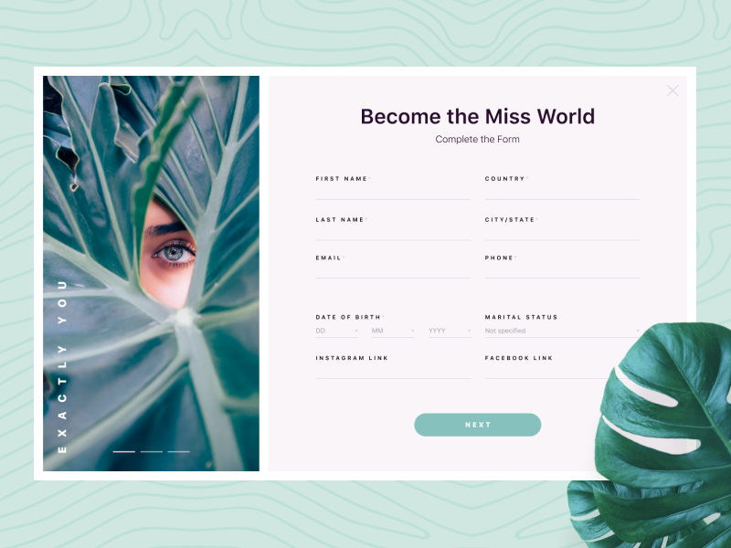 Registration Form. DailyUI dailyui subscribe interface ui website page modal popup contest light minimal clean green leaf model web form beauty registration signup
