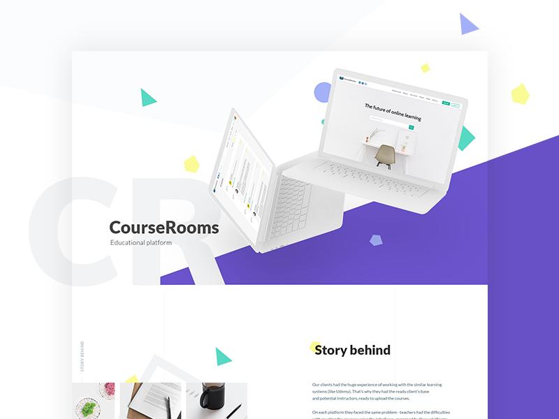 Course Rooms. Educational Web Platform design minimal colors typography white violet perspective shapes student coursera course learning education minimalistic clean light landing geometry ui web