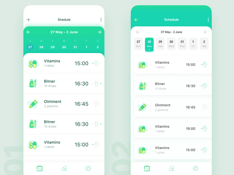 My Pills concept ux cards date round app drugs bar health medical clean time mobile ios schedule calendar icons green pills ui