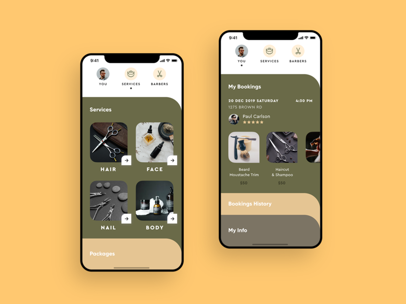 App for Barbershops creative clean mobile ui barber booking card service trend round minimal tabs salon military haircut barbershop beauty services ios app