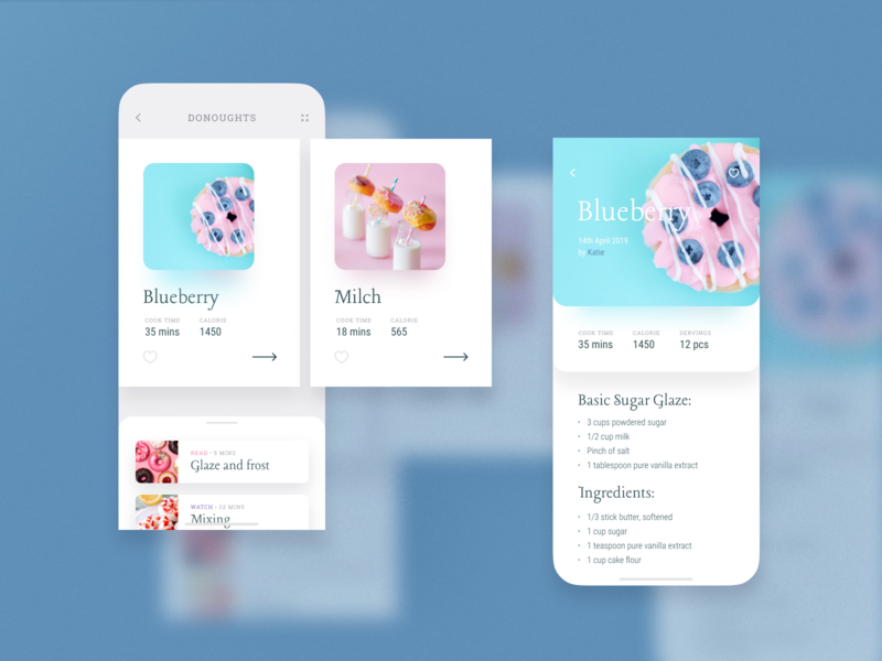 Cooking Recipes. Mobile App Concept mob mobile bright food typography minimal clean creative product category trend round donut candy light recipes card blur ios ui