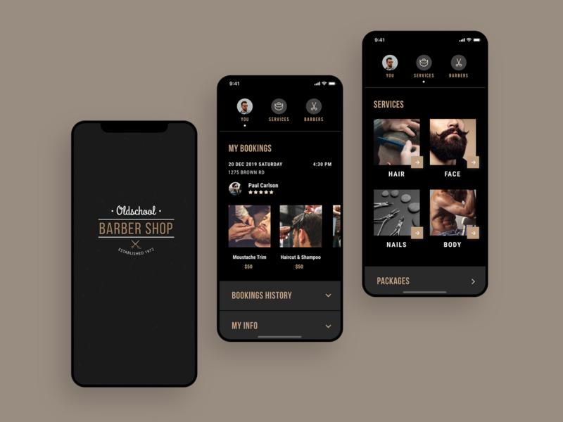App for Barbershops creative app profile concept bookings tabs barber barbershop haitcut account product services salon beauty mobile dark old luxury ios ui