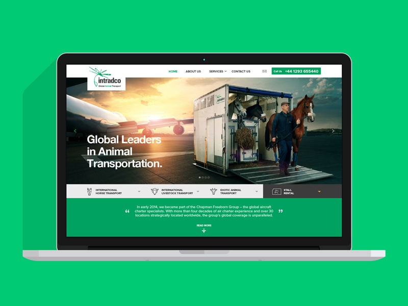 Intradco Global Animal Transport horse animal website design web ui page landing interface homepage clean