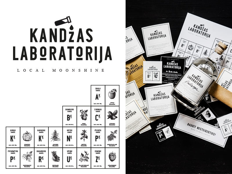 Kandžas Laboratorija / Monnshine Lab. design print chemistry laboratory paper moonshine brandidentity logo branding