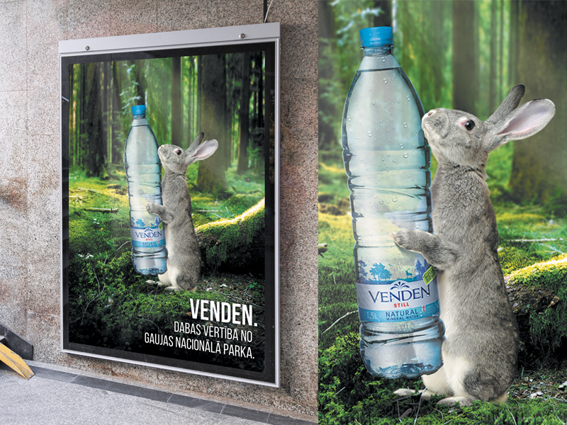 Venden. Natural Mineral Water outdoor billboard natural rabbit poster print advertising campaign forest green mineralwater water