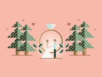 Wedding Illustration groom bride trees heart ring love illustration outdoors marriage wedding