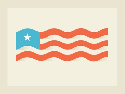 Bacon Flag wave blue white red stripes food bacon america star flag