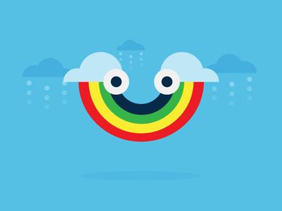 Turn That Frown Upside Down clouds rain rainbow smile geometric illustration