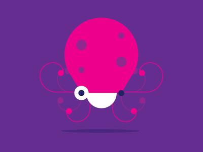 Octopus childrens smile purple violet sea animal sea underwater illustration geometric vector animal octopus