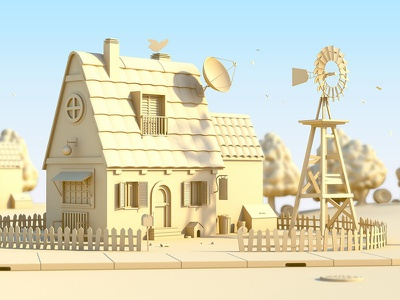 In The Country mental ray render rendering 3d house country model modeling maya