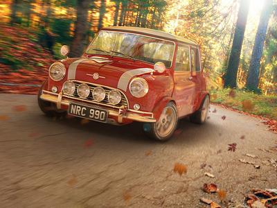 Mini Morris Cooper renderman render rendering 3d mini cooper autumn street car mini model modeling maya