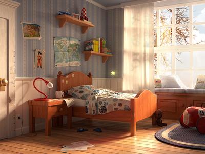 Autumn Afternoon renderman render rendering 3d compositing autumn lighting kids room model modeling maya