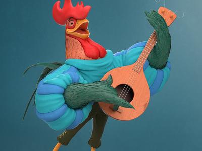 Alan-A-Dale character rooster robin hood walt disney disney pixar renderman render rendering 3d model maya