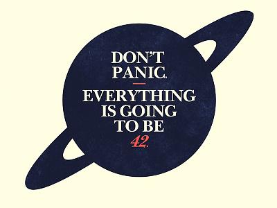 Deep Thought dont panic 42 douglas adams design logo type