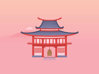 Hanamura ⛩ shrine playstation pagoda orange pink illustration pastel building japanese japan overwatch hanamura