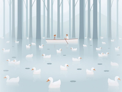 💌 The Notebook reflection landscape duck geese water canoe boat the notebook illustration