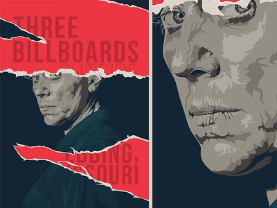 Three billboards outside Ebbing, Missouri cinema movie face illustration poster