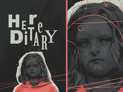 Hereditary vector typography ai glitch design movie poster illustration