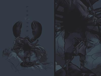 The Lobster face glitch design film poster movie illustration