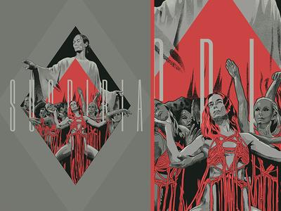 Suspiria typography drawing film grain cinema horror procreate film movie poster illustration