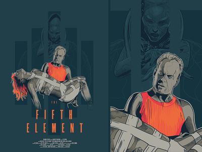 Fifth Element alternative typography ai cinema glitch face vector design film movie poster illustration