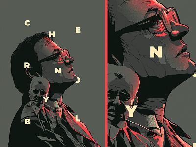 Chernobyl series cinema glitch face design film movie poster illustration