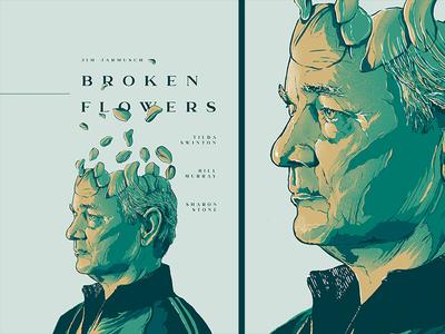 broken flowers typography cinema face design film poster movie illustration