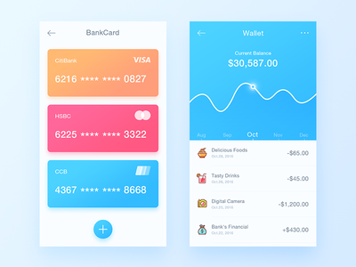 Payment Balance App daily ui drink food blue wallet bankcard finance payment balance app