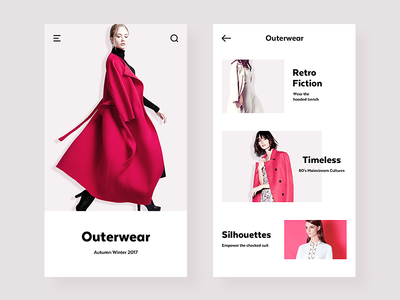 E-Commerce App ux ui coat outerwear red style product categories shopping ecommerce e-commerce clothing