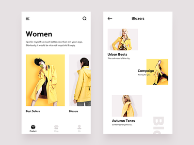 E-Commerce App campaign blazers shop clothing e-commerce ecommerce categories product yellow style ui ux