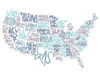 USA Typography-based Map