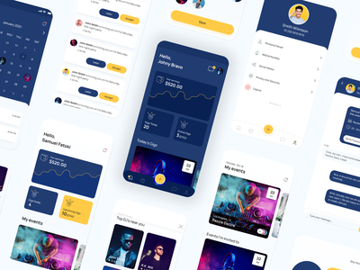 Mix of dark and default mode artistic emerging components branding designsystem people hirepixels agency guru app events figma freelance minimal clean android ios appdesign graphic design design