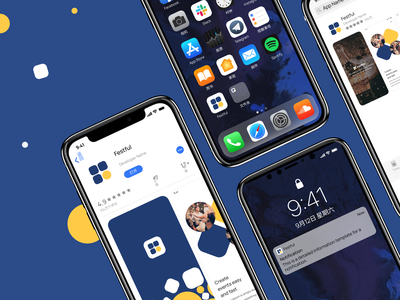 Festful app store assets. Launcher icon and banners. freebie psd designsystem silicon events freelancers figma festful blue whitespace minimal clean app design ios appicon launcher
