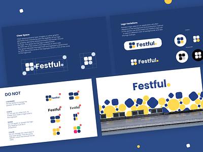 Festful app logo & icon - Do's-Dont's brandidentity pixels ehtisham appdesign clean minimal ui components patternlibrary designsystem systems designapproach guideline branding logo appicon