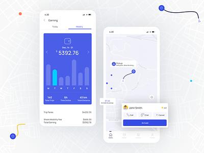 Mobility solution ridehailing rideshare freelance clean minimal ui app design