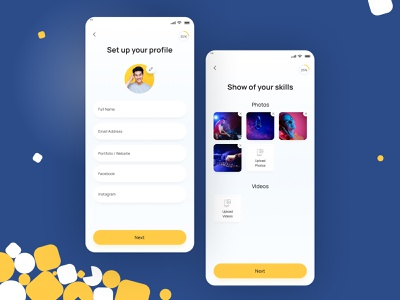 Setting up your profile freelancersapp eventsapp freelancers hybrid ios android app design minimal clean ui