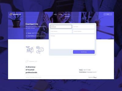Contact us desktop design for E-Paper purple dark gradients responsivedesign clientfacing people meet socialconnects digitalmarketing epaper versatile minimal clean uiux webdesign web contactus design