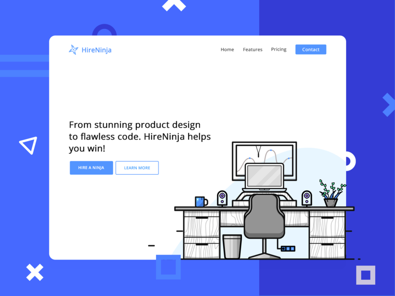 HireNinja Landing Page Concept colors clean ux design ui web design art minimalistic design vector art 100 daily ui 100 day ui challenge design challenge illustration minimalistic blue white web web banners hero ninjas coding home page