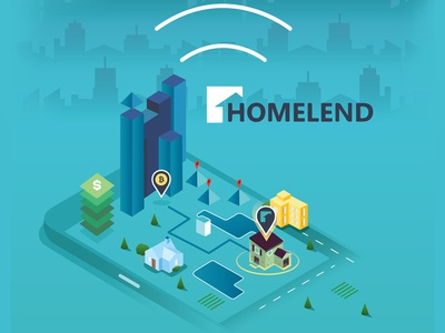 Isometric City for Homelend neighborhood trees connections pool home house money mortgage blockchain city flat isometric