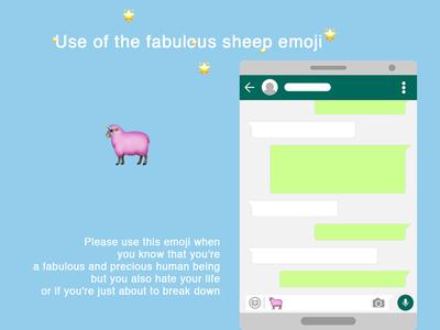 The Fabulous Sheep Emoji ui ux feelings animal pink text millenial unicorn lgbt sheep icon emoji