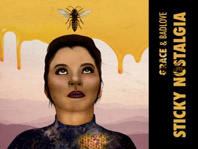 Sticky Nostalgia - Grace & Badlove eyes woman girl spotify honey bee illustration music cover album