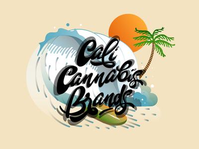 Cali Cannabis Brands - Lettering Logo summer beach surf vector logo brand cannabis california sun custom lettering